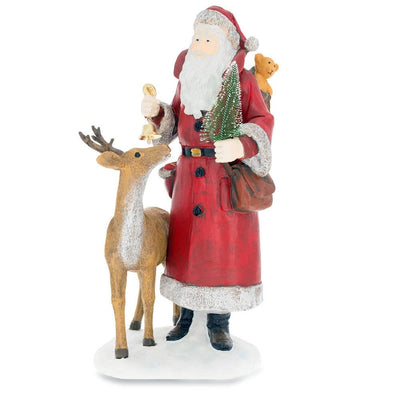 Reindeer with Santa Holding Christmas Tree 12 Inches Figurine by BestPysanky
