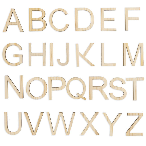 Set of 26 Unfinished Wooden Letters (1.75 Inches) by BestPysanky