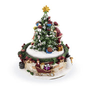 Buy Online Gift Shop Santa and Girl Decorating Christmas Tree Spinning Musical Figurine