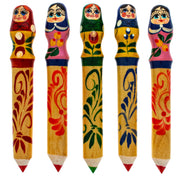 Wooden Russian Matryoshka Doll Pencil (1 Random Design) 4.75 Inches by BestPysanky