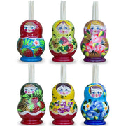 Assortment of 3 Matryoshka Russian Nesting Dolls Toothpicks Holders 2.5 Inches by BestPysanky
