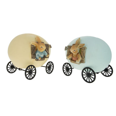 Set of 2 Easter Bunnies House Carriage with Lights by BestPysanky