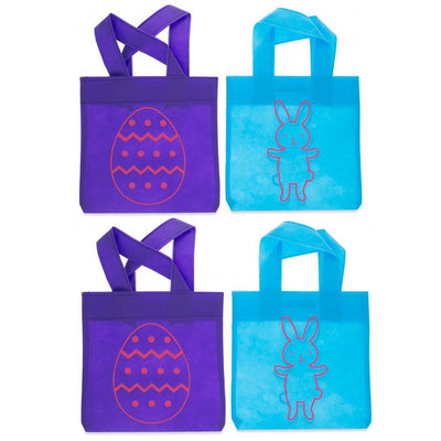 Set of 4 Mini Easter Tote Bags 6 Inches x 9 Inches