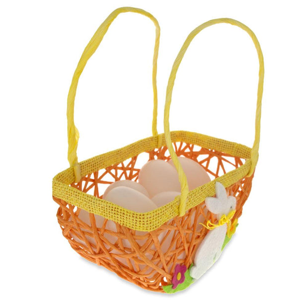 Set of 2 Easter Baskets with White Bunny and Flowers