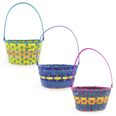 Set of 3 Woven Colorful Oval Easter Baskets 15 Inches by BestPysanky