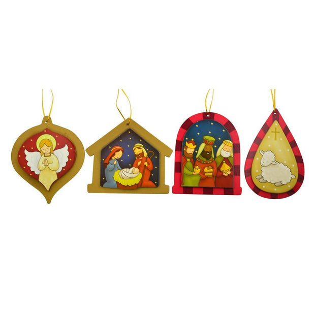 Set of 4 Glorious Day Nativity Christmas Ornaments by BestPysanky