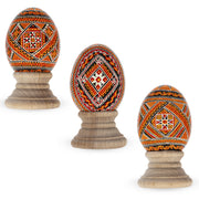 Set of 3 Chicken Size Blown Real Ukrainian Easter Egg Pysanky by BestPysanky