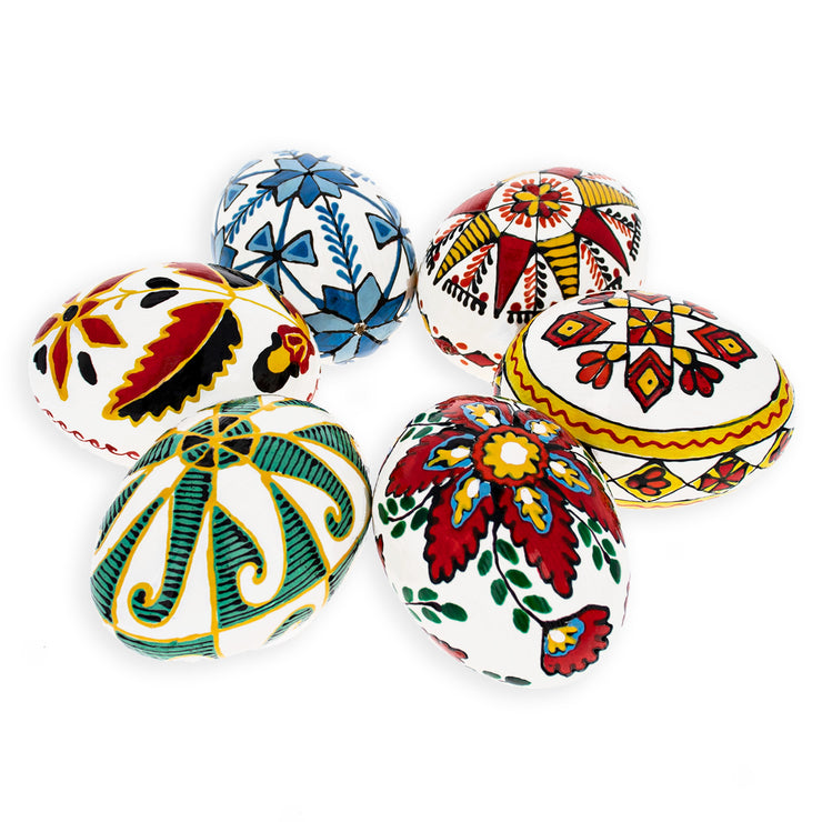 Buy Online Gift Shop Set of 6 Hand Painted Ukrainian Wooden Easter Eggs 2.5 Inches