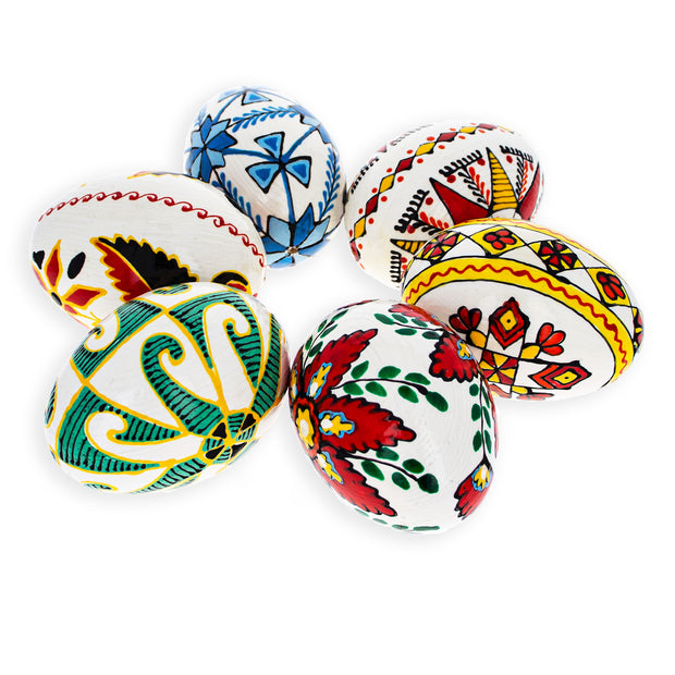 Set of 6 Hand Painted Ukrainian Wooden Easter Eggs 2.5 Inches
