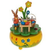 Bunny Picnic with Easter Eggs Wooden Rotating Music Box Figurine 5.25 Inches by BestPysanky