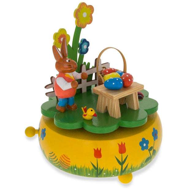 Bunny Picnic with Easter Eggs Wooden Rotating Music Box Figurine 5.25 Inches
