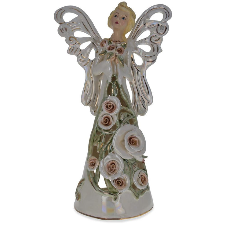 Pink Angel Bearing Flowers in the Basket Ceramic Figurine by BestPysanky