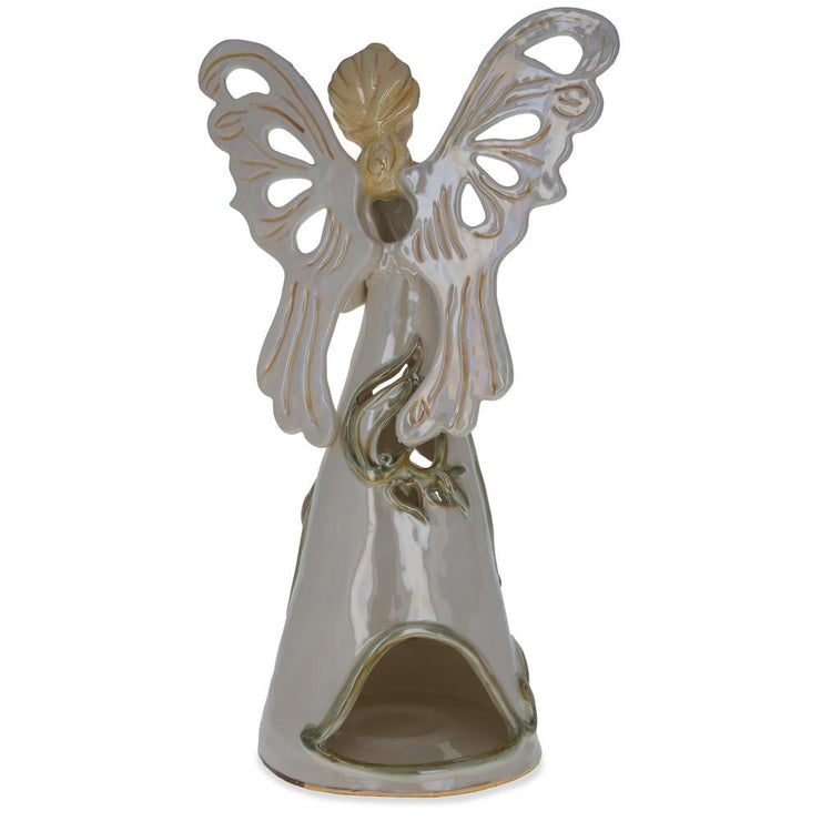 Buy Online Gift Shop Pink Angel Bearing Flowers in the Basket Ceramic Figurine