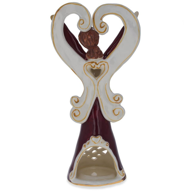 Buy Online Gift Shop Red Blossom Tea Light Ceramic Angel Figurine 10 Inches