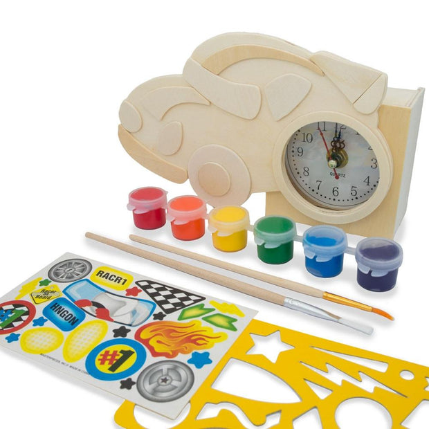 Race Car Clock Craft Kit Unfinished Wooden Shape Craft Cutout DIY Unpainted by BestPysanky