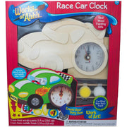 Race Car Clock Craft Kit Unfinished Wooden Shape Craft Cutout DIY Unpainted