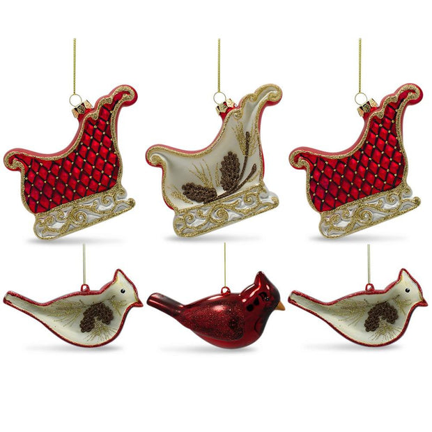 Set of 6 Cardinals Birds and Sleighs Glass Christmas Ornaments 4 Inches by BestPysanky