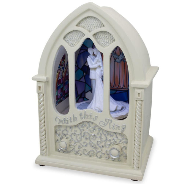 Wedding Ceremony in Chapel LED Rotating Music Box Figurine 6.75 Inches by BestPysanky