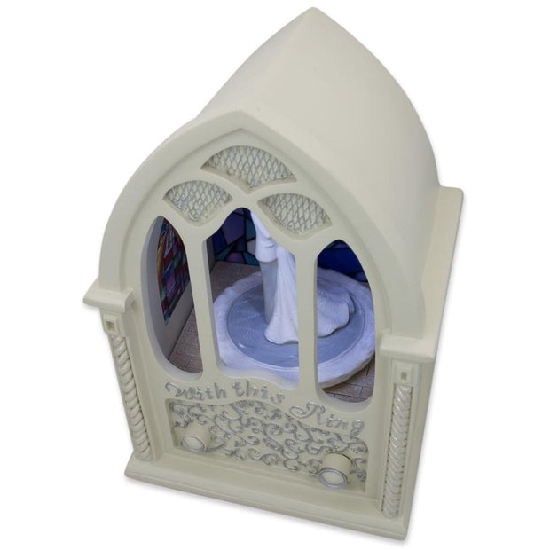 Wedding Ceremony in Chapel LED Rotating Music Box Figurine 6.75 Inches