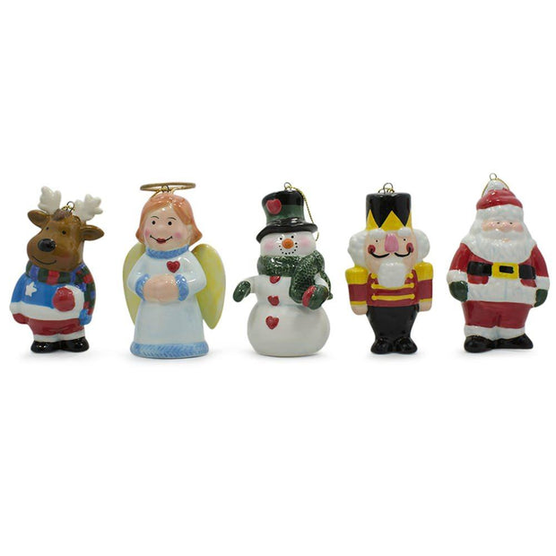 Set of 5 Ceramic Santa, Angel, Snowman, Nutcracker Christmas Ornaments 3 Inches by BestPysanky