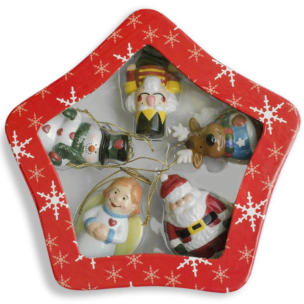 Set of 5 Ceramic Santa, Angel, Snowman, Nutcracker Christmas Ornaments 3 Inches