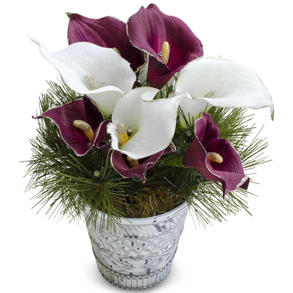 Red And White Calla Lily Flower Pot With Led 12 Inches