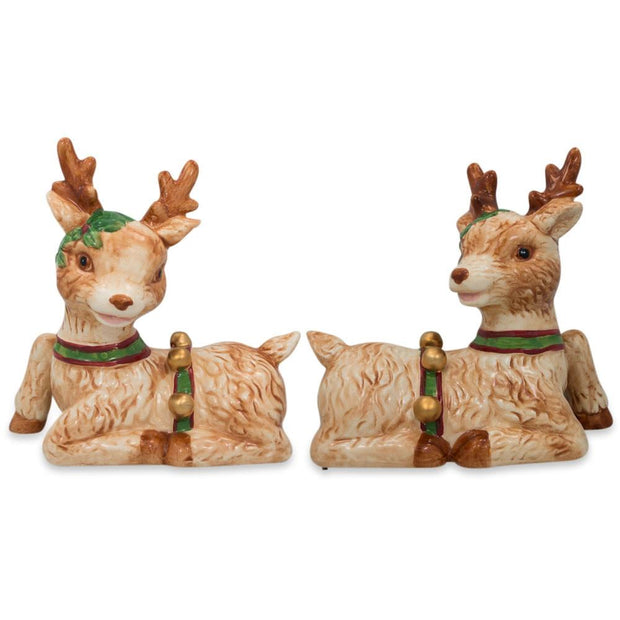 Set of 2 Ceramic Reindeer Figurines 6 Inches by BestPysanky