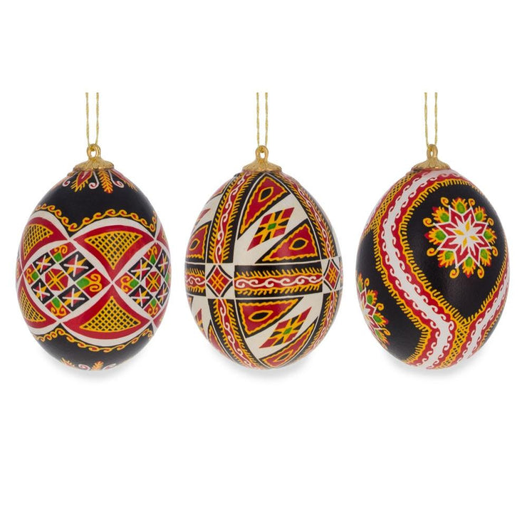 Set of Three Real Eggshell Pysanky Ukrainian Easter Egg Christmas Ornaments 2.5 Inches by BestPysanky