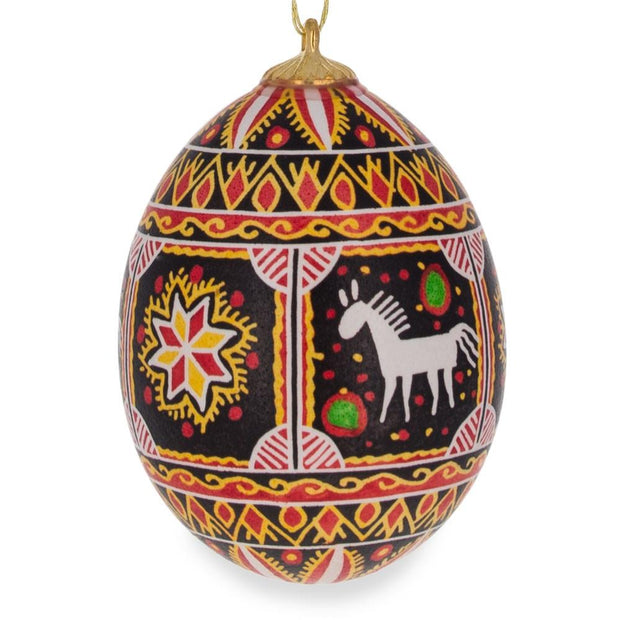 Horse and Star Real Blown out Eggshell Ukrainian Easter Egg Ornament by BestPysanky