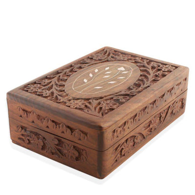 Inlayed Flowers Hand Carved Asian Oriental Wooden Jewelry Box 7 Inches by BestPysanky