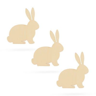 3 Bunnies Unfinished Wooden Shapes Craft Cutouts DIY Unpainted 3D Plaques 4 Inches by BestPysanky