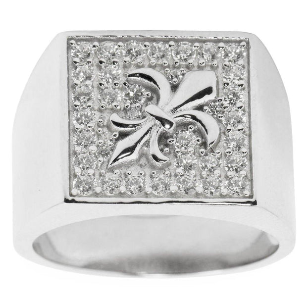 Fleur de Lis Sterling Silver Men's Ring (Size 10) by BestPysanky