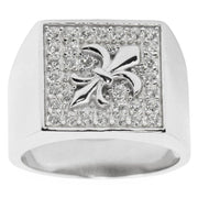 Fleur de Lis Sterling Silver Men's Ring (Size 9) by BestPysanky