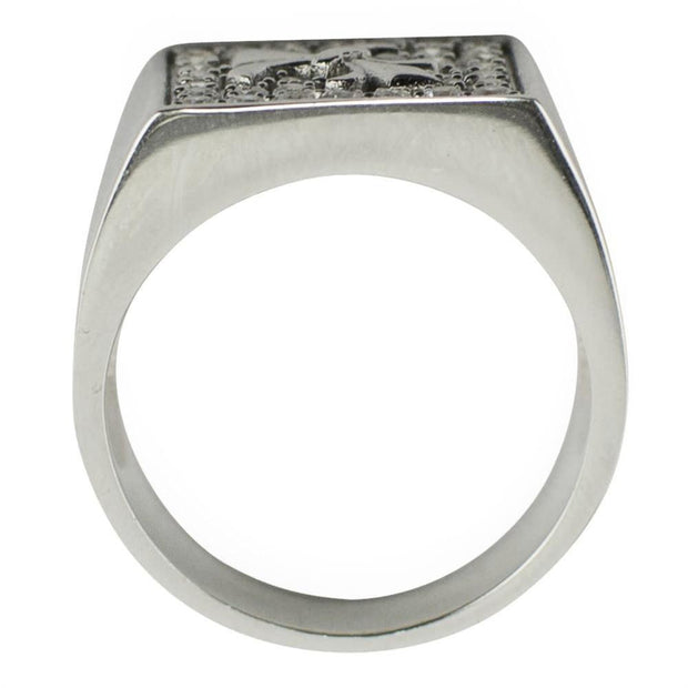 Fleur de Lis Sterling Silver Men's Ring (Size 9)