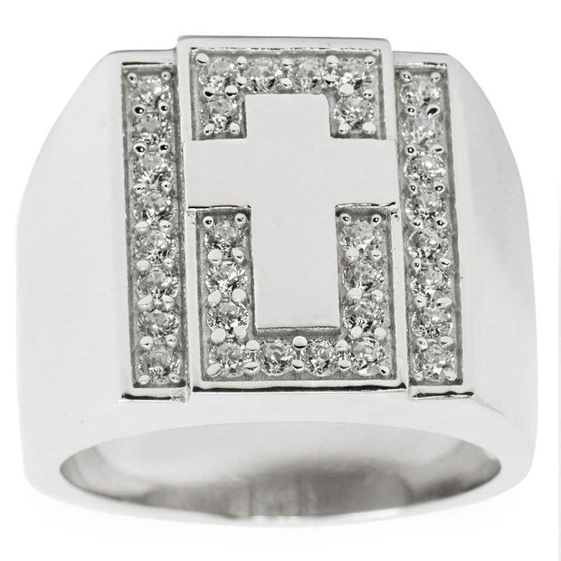 Cross on Crystals Sterling Silver Men's Ring (Size 10) by BestPysanky