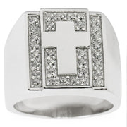 Cross on Crystals Sterling Silver Men's Ring (Size 9) by BestPysanky