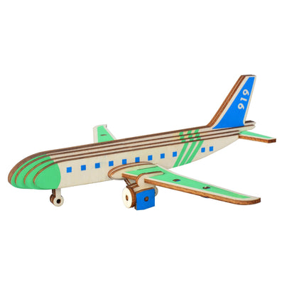 Passenger Airplane Model Kit - Wooden Laser-Cut 3D Puzzle (27 Pcs) by BestPysanky