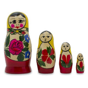 Set of 4 Unfinished Wooden Nesting Dolls Craft 4 Inches