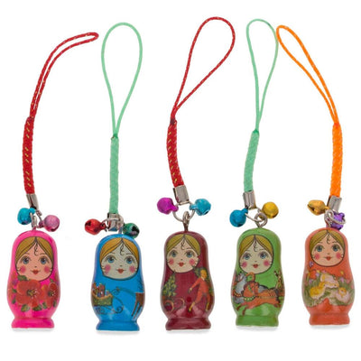 Set of 10 Wooden Dolls Matryoshka Key Chain Charms 1.5 Inches by BestPysanky