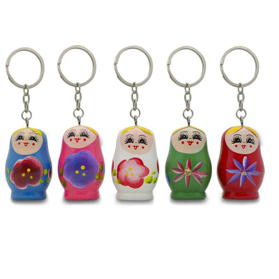 Five Matryoshka Wooden Russian Nesting Dolls Key Chains 1.75 Inches by BestPysanky