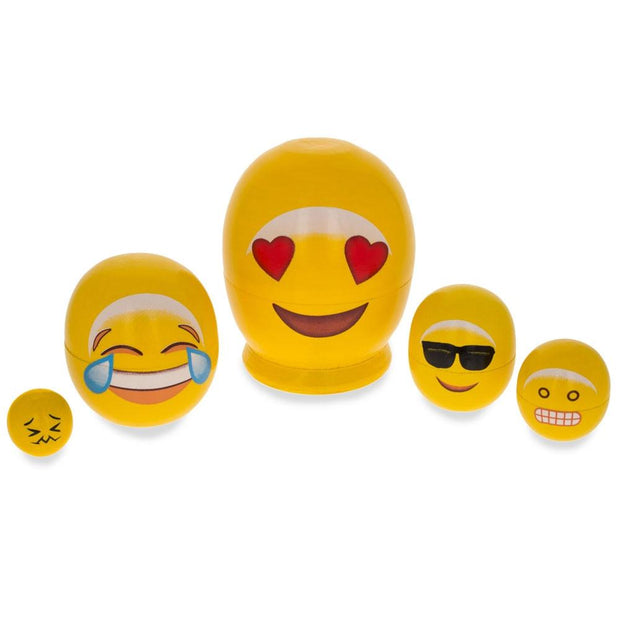 Emoji Wooden Nesting Dolls - In Love, Laughing, Cool Sunglasses, Grin 4 Inches
