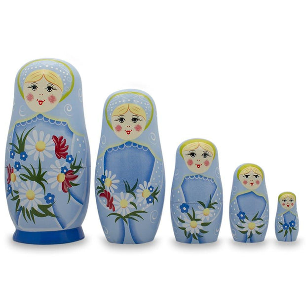5 Girls with Daisy Flowers & Blue Skirt Wooden Russian Nesting Dolls 6 Inches by BestPysanky