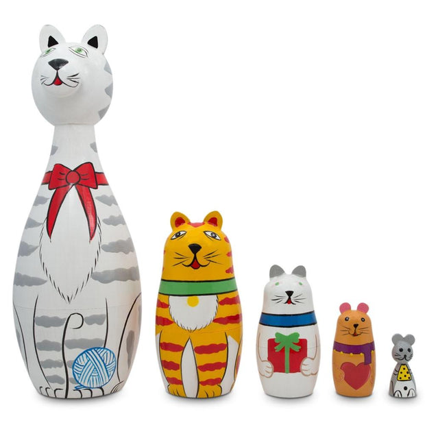 Tabby, Siamese, Maine Coon & Mouse Cats Wooden Russian Nesting Dolls 7 Inches by BestPysanky