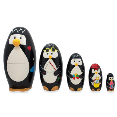Set of 5 Penguins Wooden Nesting Dolls 5 Inches by BestPysanky
