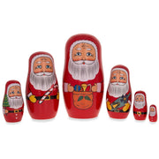 Set of 6 Santa Claus with Christmas Gifts Wooden Nesting Dolls 5.5 Inches by BestPysanky