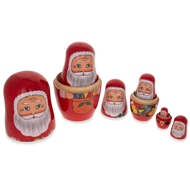 Set of 6 Santa Claus with Christmas Gifts Wooden Nesting Dolls 5.5 Inches