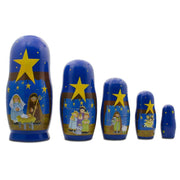 Set of 5 Nativity Scene Set Wooden Nesting Dolls 5.75 Inches by BestPysanky