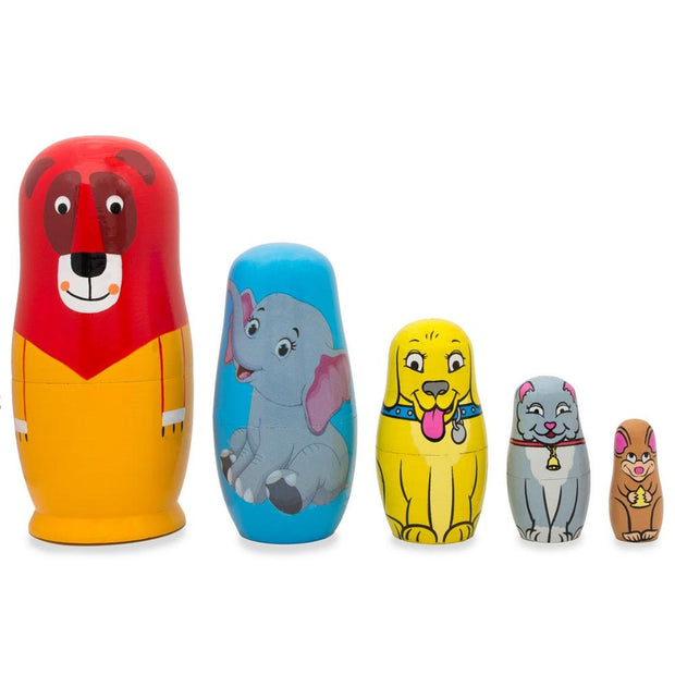 5 Animals Lion, Elephant, Dog & Cat Wooden Nesting Dolls 5.75 Inches by BestPysanky