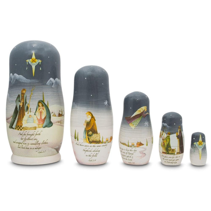 Set of 5 Nativity Scene Set with Bible Verses Wooden Nesting Dolls 5.75 Inches by BestPysanky