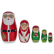 Set of 5 Santa, Mrs. Claus, Elf & Snowman Wooden Nesting Dolls 4.75 Inches by BestPysanky
